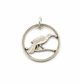 Lazy Cat Cut Coins Hand-cut Coin Pendant - Huia bird- NZ