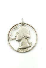 Lazy Cat Cut Coins Hand-cut Coin Pendant - George puffing a doobie