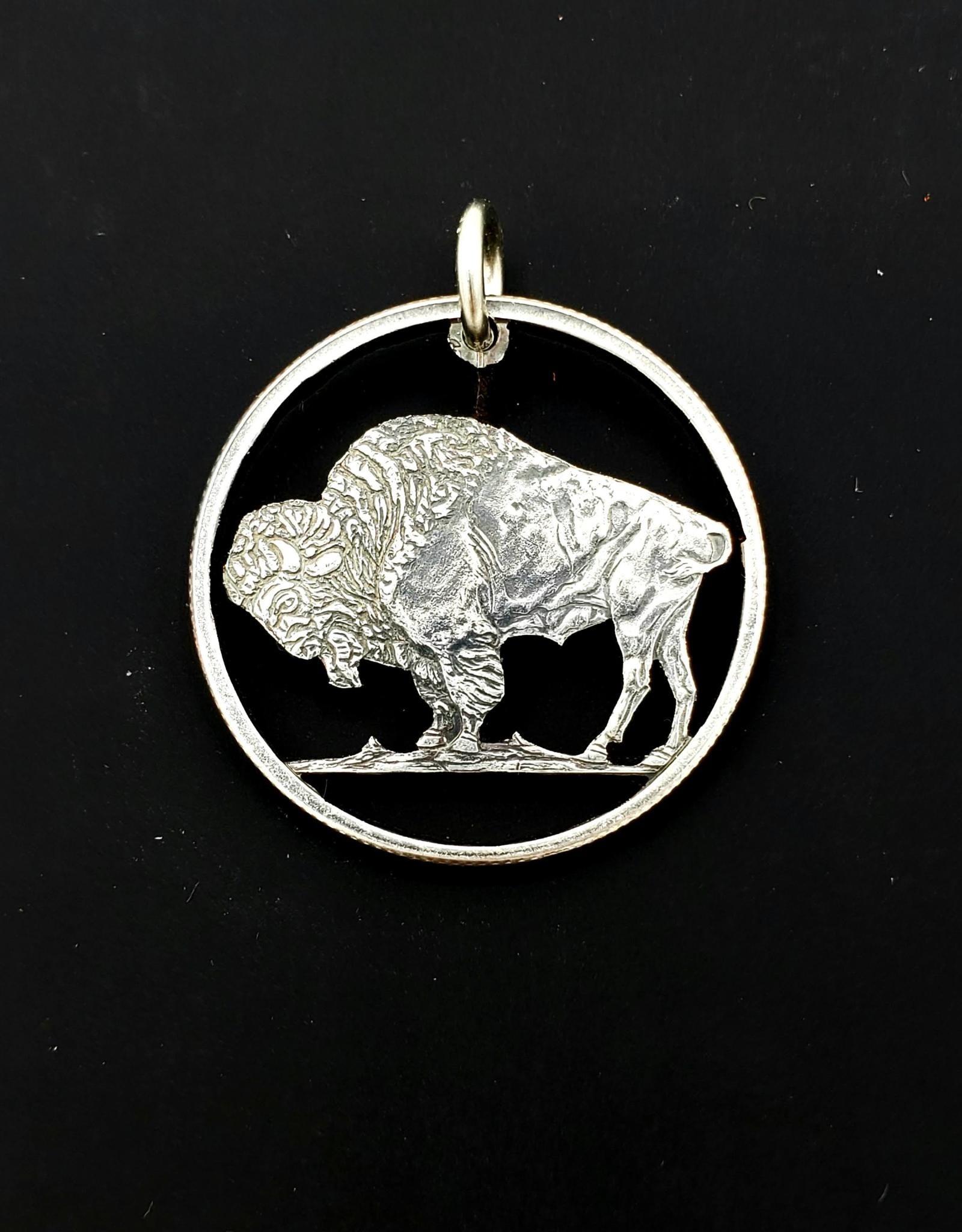 Lazy Cat Cut Coins Hand-cut Coin Pendant - Buffalo quarter
