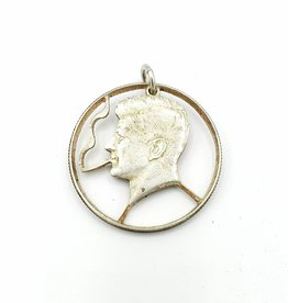 Lazy Cat Cut Coins Hand-cut Coin Pendant - JFK- puffing a doobie