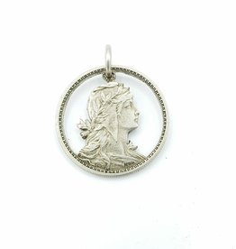 Lazy Cat Cut Coins Hand-cut Coin Pendant - Portugal- young woman