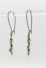 "Tiny seed bead ""Pearl"" Cascade Earrings - antiqued brass kidney earwires"