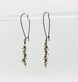 "Tiny seed bead ""Pearl"" Cascade Earrings - antiqued brass kidney earwires"