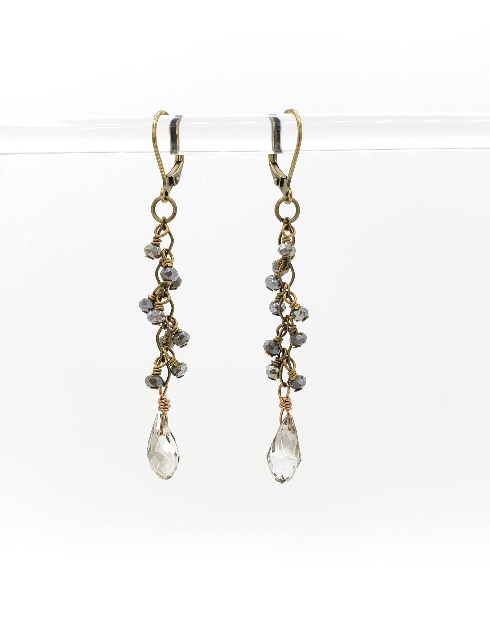 Dark Jasper and Champagne Briolette Drop Earrings