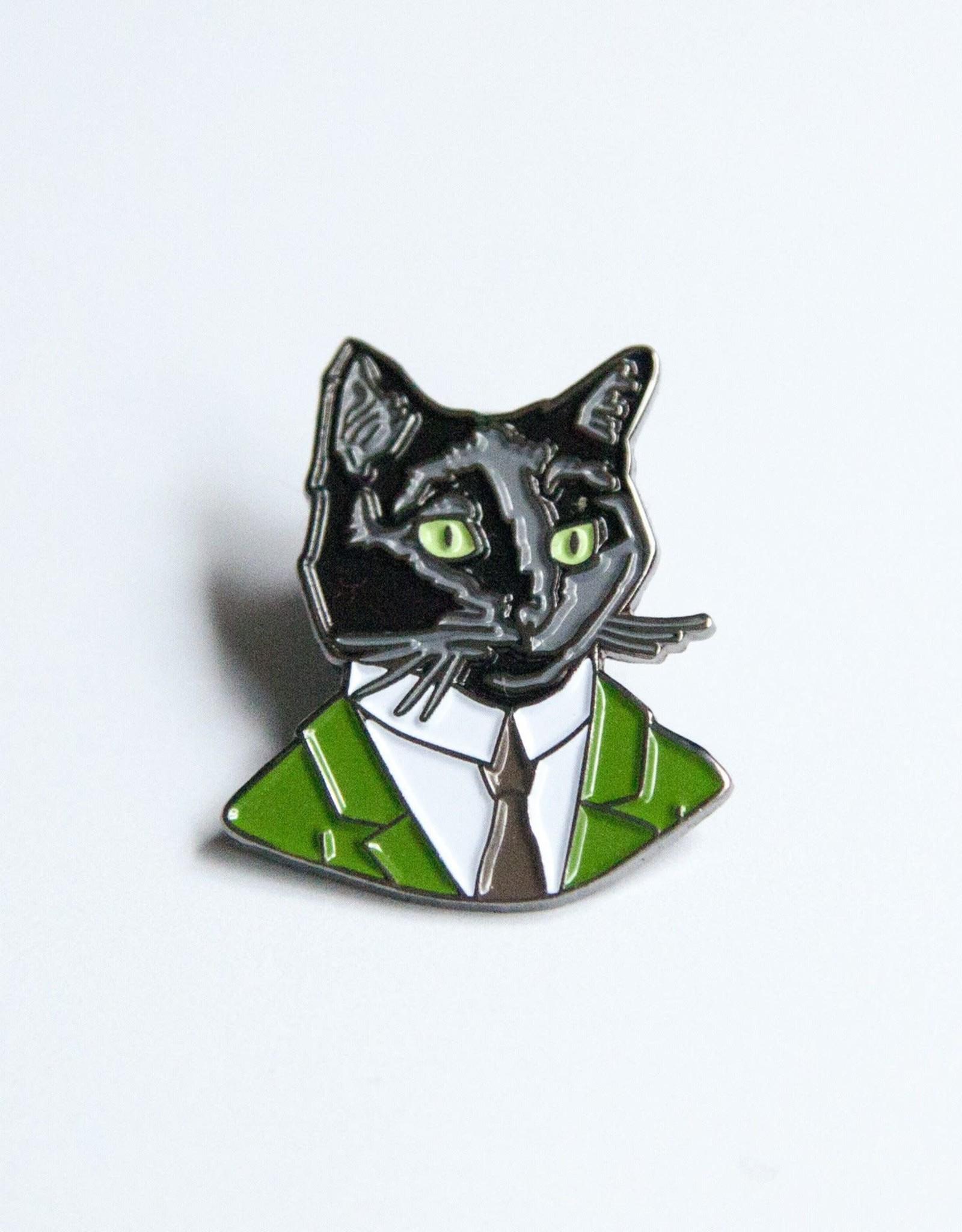 "Berkley Illustration ""Black Cat Gentleman"" Animal Portrait Enamel Pin - Ryan Berkley"