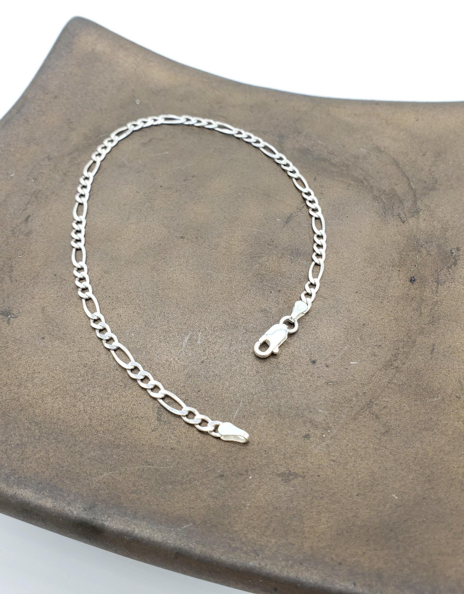 "Anklet or bracelet Figaro - sterling silver medium weight 9"""