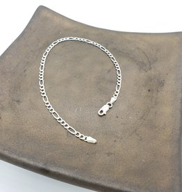 Anklet or bracelet Figaro - sterling silver medium weight 9""