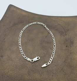 Anklet or Bracelet Figaro - sterling silver medium weight 8""