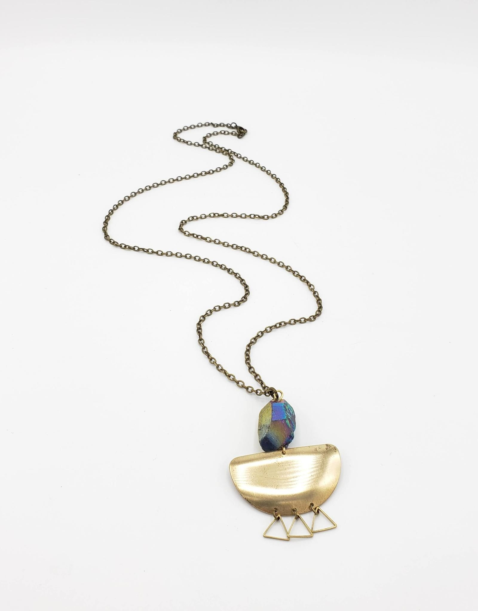 Galaxy Quartz Half Circle Brass Necklace