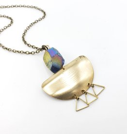 Galaxy Quartz Half Circle Brass Necklace