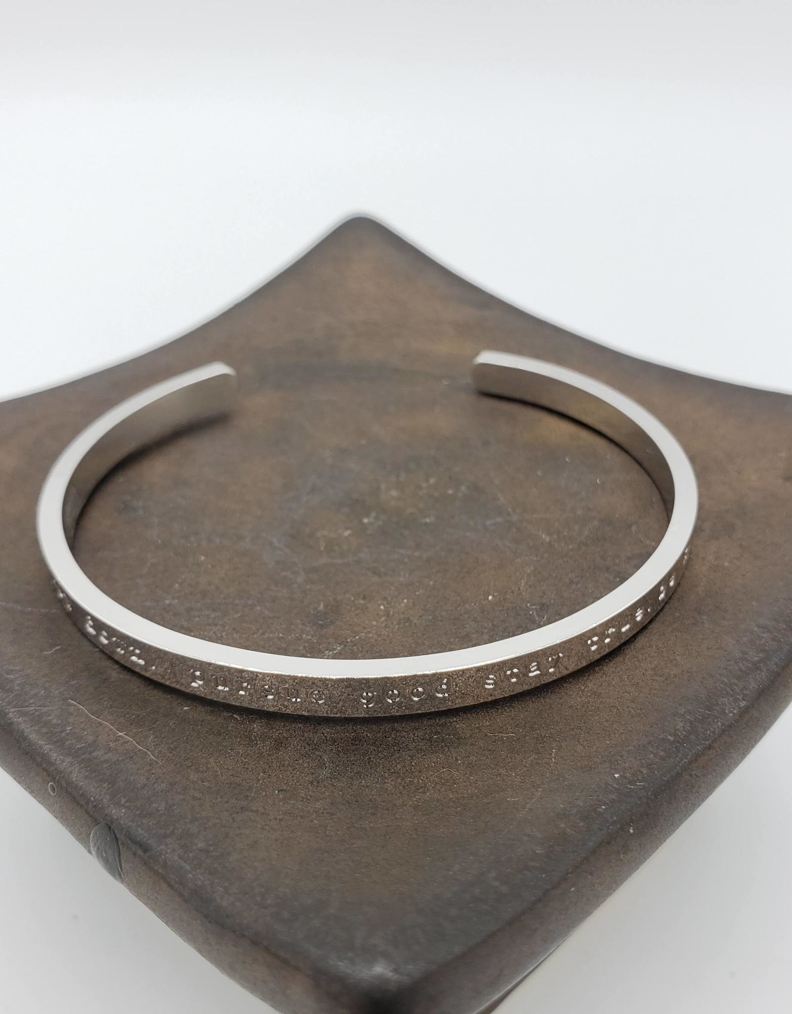 """Oh, Hello Friend """"slow down. pursue good. stay true. be kind"""" Cuff Bracelet, Silver Plated"""