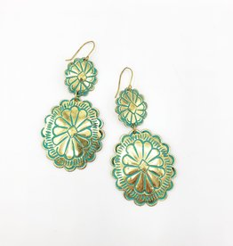 Gold Patina Double Concha Drop Earrings
