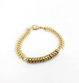 Brass African bead and fishbone bracelet
