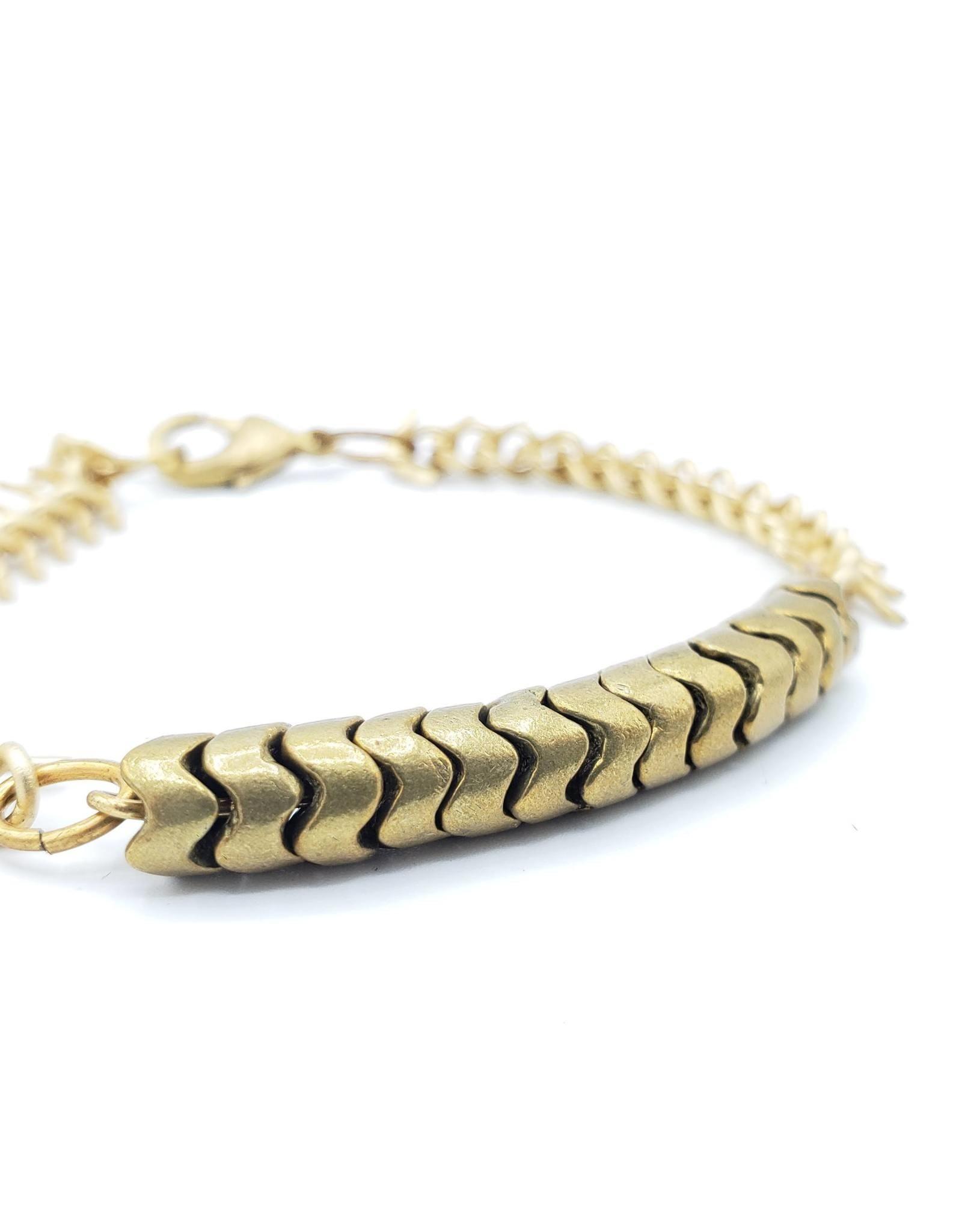 Brass African bead and fishbone bracelet