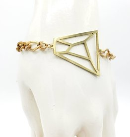 Monserat de Lucca Faceted ''Gem'' Outline bracelet in Lasercut Brass