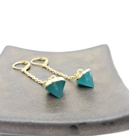 Chrysoprase Drop on Chain Dangle Earrings with gold plated earwires