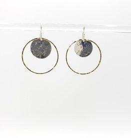 Peter James Jewelry Large Circle Earrings with hammered disc inside - sterling & Gold Fill