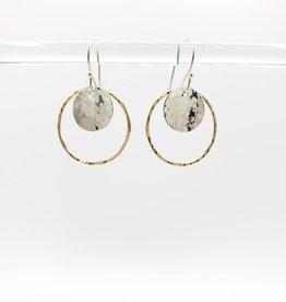 Peter James Jewelry Medium Circle with Hammered Disc Earrings- Gold Fill & sterling