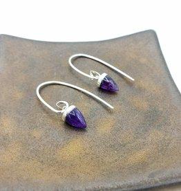 Peter James Jewelry Tiny Amethyst Bullet Earrings- Sterling Silver ear hook
