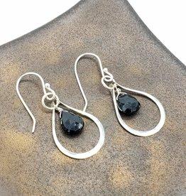 Peter James Jewelry Black Spinel Sterling Teardrop Earrings