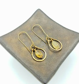 From the Reliquary Brass Horseshoe with Faceted Citrine Gemstone Earrings