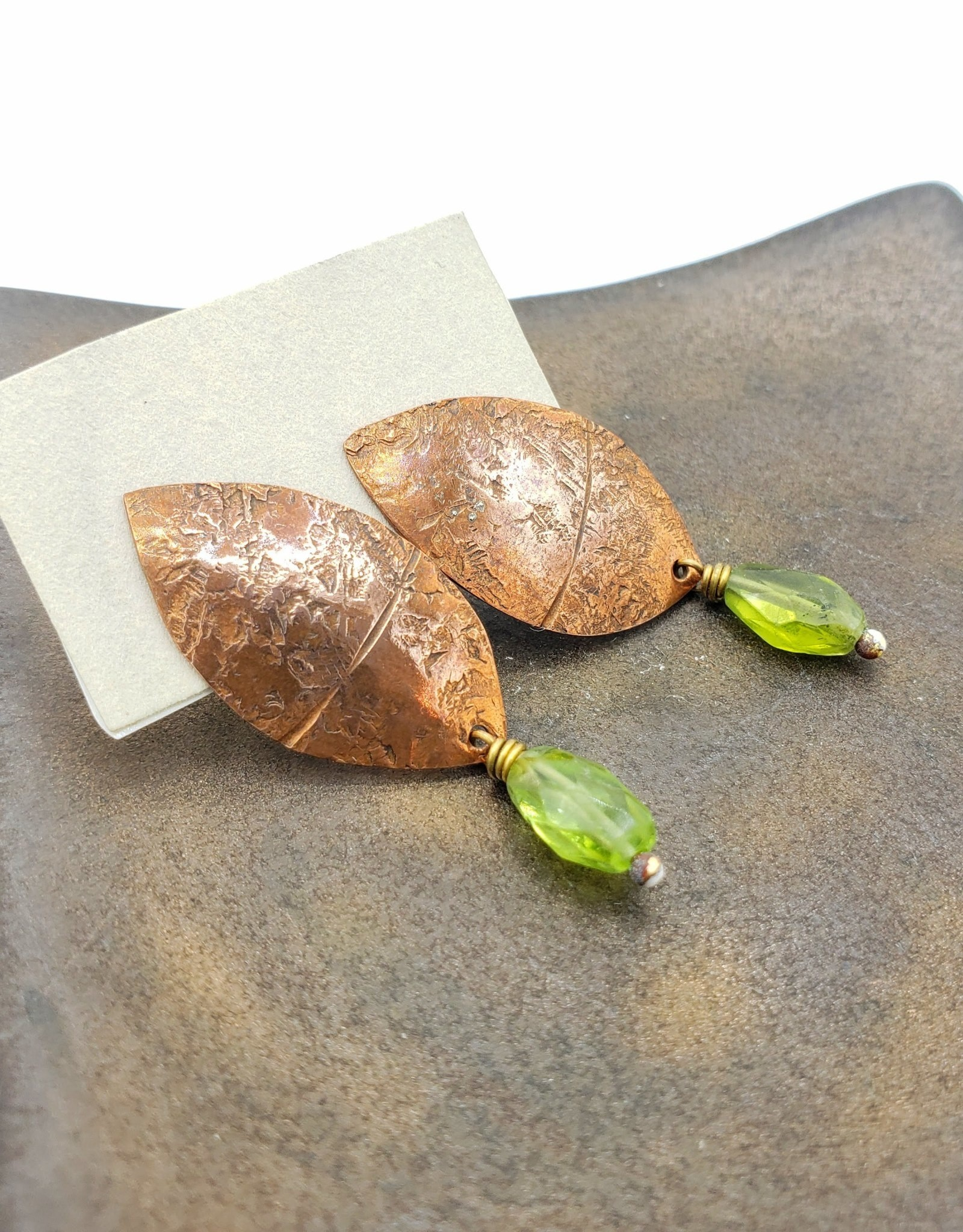From the Reliquary Copper Petalos Post Earrings with Green Garnet - From the Reliquary