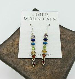 Tiger Mountain Long Rainbow Earrings Sterling Silver