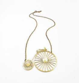 Monserat de Lucca Brass Vintage Bicycle Necklace