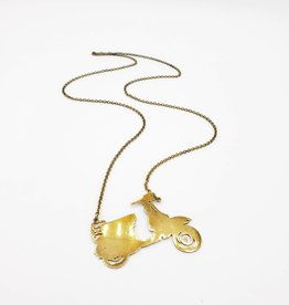 Monserat de Lucca Moped Necklace Lasercut brass