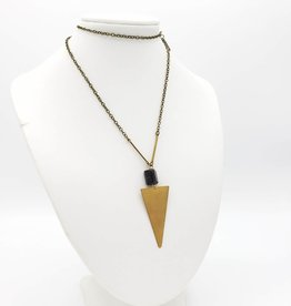 Black Tourmaline Triangle Necklace