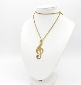 Monserat de Lucca Trebel Clef Music Note Brass Necklace