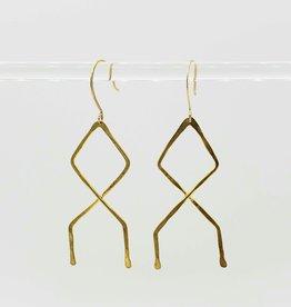 Indigo Alice Wander Earrings, brass