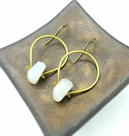 TTereve Faceted Moonstone with Brass Hoop Earrings