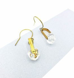 TTereve Faceted quartz saddle earrings, brass