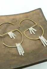 Kirsten Elise Jewelry S-Hoop Earrings with tiny Quartz Crystal spears