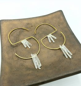 Kirsten Elise Jewelry S-Hoop Earrings with tiny Quartz Crystal spears