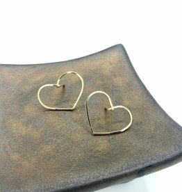 Big Love Heart Hoop Earrings- 14K Gold Fill