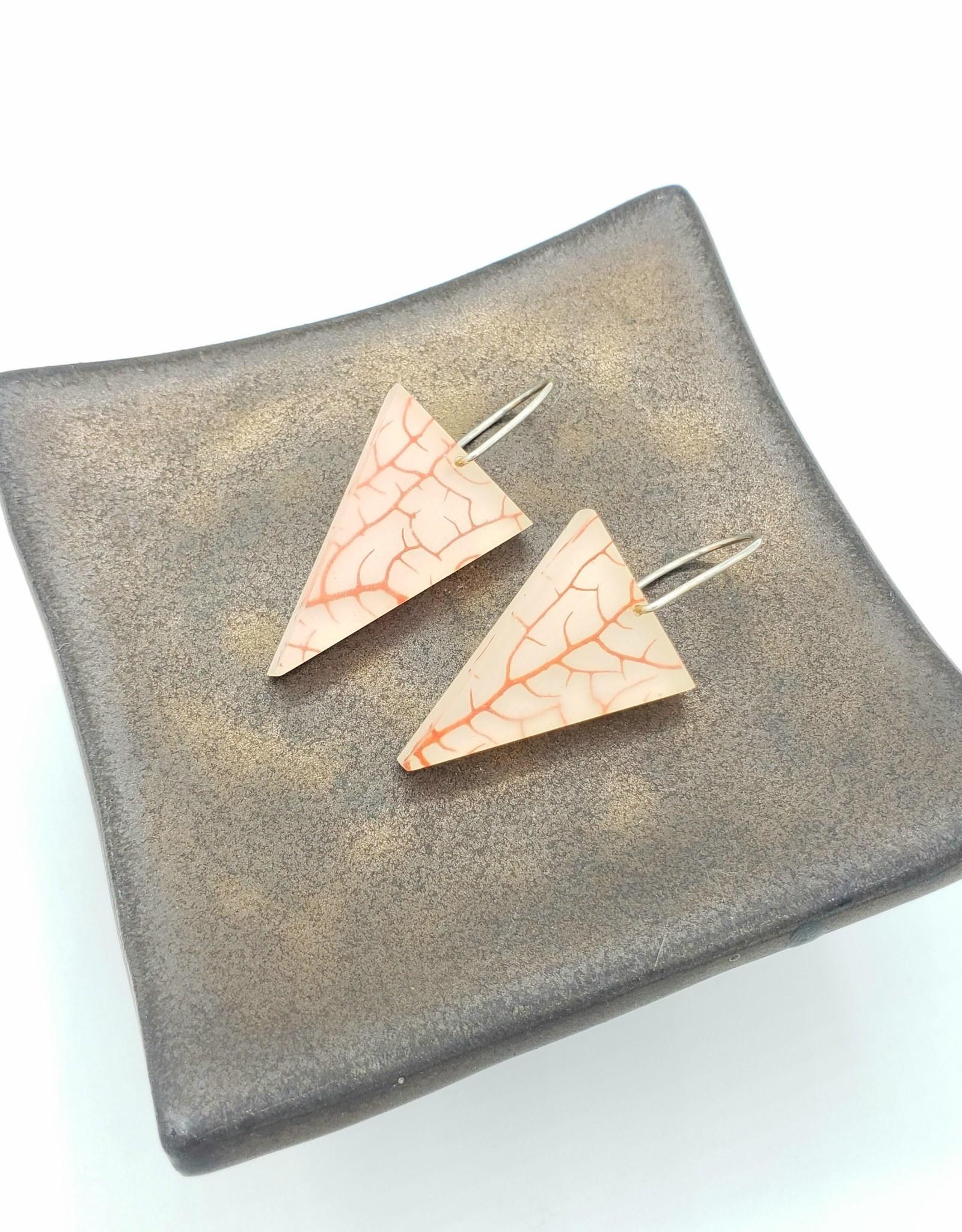 Fernworks Red Sea Fan Triangle Resin Earrings by Fernworks