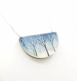 Fernworks Snowy Forest Resin Necklace half Moon shape by Fernworks