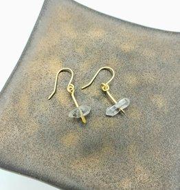 "Tiny Herkimer ""Diamond"" Earrings in Brass"