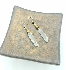 Quartz Crystal Earrings by Iron Oxide