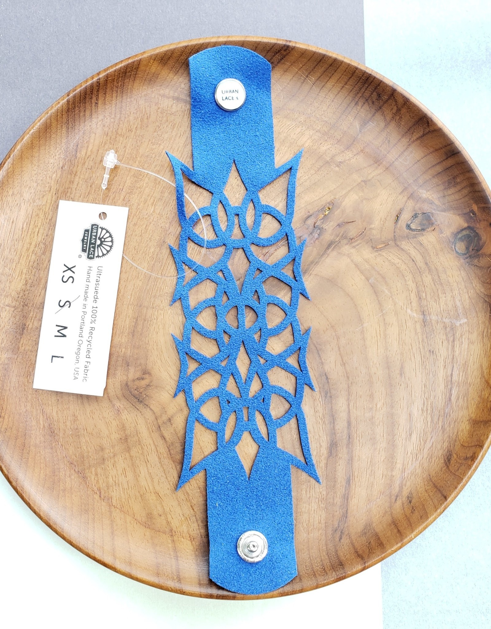 """Urban Lace """"Nyad"""" 6.5"""" Ultra Suede Cuff Snap Bracelet in Royal Blue"""