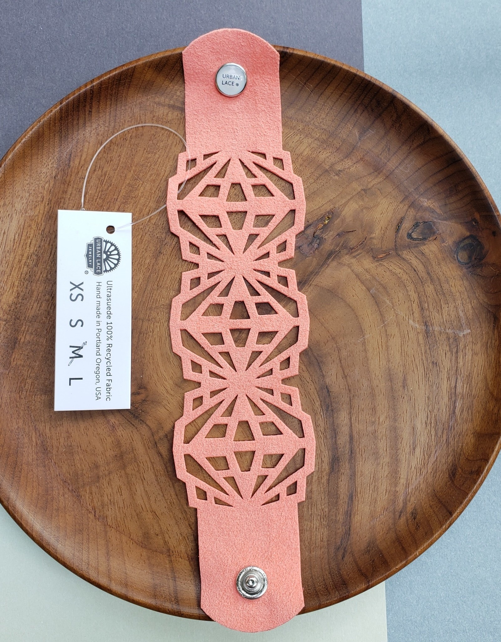 "Urban Lace ""Crystalline"" 7"" Ultra Suede Cuff Snap Bracelet in Terracotta"
