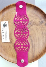 "Urban Lace ""Crystalline"" 7"" Ultra Suede Cuff Snap Bracelet in Fuchsia"