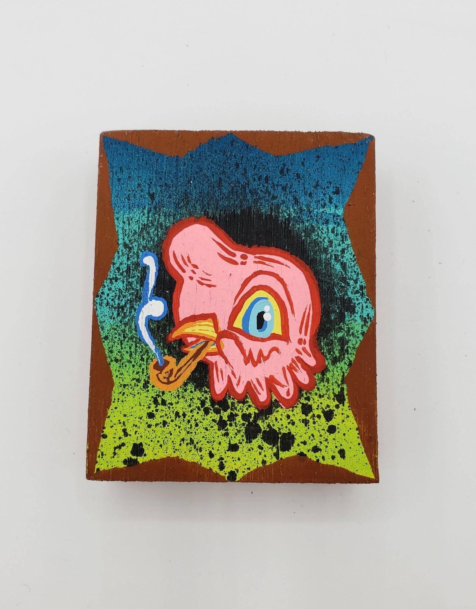 "Little Pink Bird Painting 2"" X 2.5"" by Tripper Dungan"