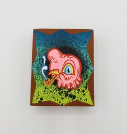 "Little Pink Bird Painting 2"" X 2.5"" by Tripper Dungan"