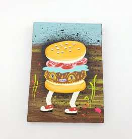 "Happy Hamburger Painting 4"" x 5.5"" by Tripper Dungan"