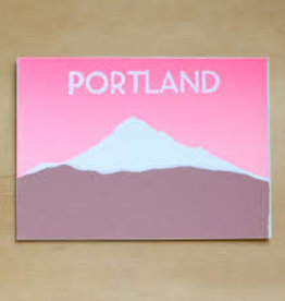 Pink Mt. Hood Portland Greeting Card - Gold Teeth Brooklyn