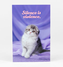 "Sean Tejaratchi ""Silence is Violence"" Postcard - Social Justice Kittens & Puppies, by Sean Tejaratchi"