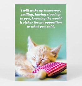 "Sean Tejaratchi ""I Will Wake Up Tomorrow"" Postcard - Social Justice Kittens & Puppies, by Sean Tejaratchi"